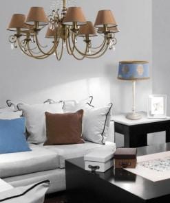 Stalo šviestuvas COCO ir aštuonių lempų lubinis pakabinamas šviestuvas COCO interjere