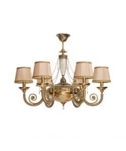 Šešių lempų lubinis šviestuvas medžiaginiu gaubteliu BIBIONE