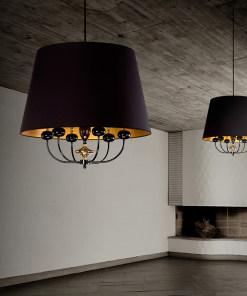 Lubinis pakabinamas šviestuvas NARNI interjere, Juodos emalės ir poliruoto žalvario