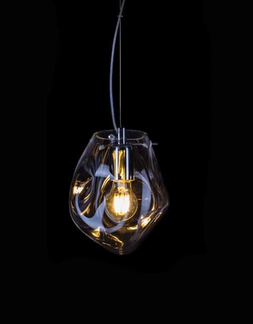 Rankų darbo lubinis pakabinams šviestuvas SASSO, permatomas stiklas