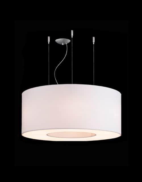 Lubinis pakabinamas šviestuvas didelėms erdvėms Ramko TUBUS 70, 80, 100 baltos spalvos įjugtas