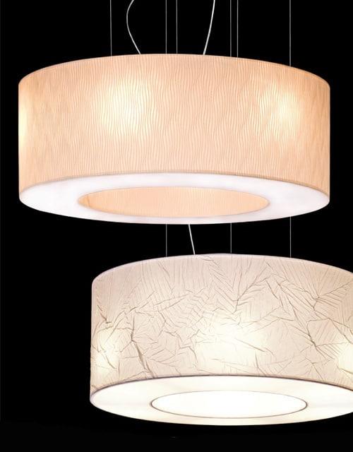 Lubinis pakabinamas šviestuvas didelėms erdvėms Ramko TUBUS skirtingų spalvų pavyzdžiai