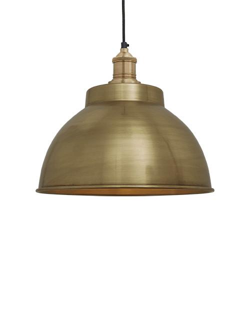 Žalvarinis gaubto formos lubinis pakabinamas šviestuvas BROOKLYN su žalvariniu laikikliu