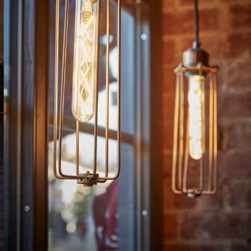 Alavo spalvos cilindro formos lubinis šviestuvas ORLANDO interjere