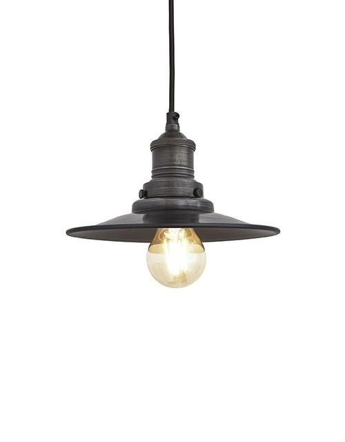 Mažas plokščios formos alavo spalvos šviestuvas FLAT su tamsaus alavo laikikliu