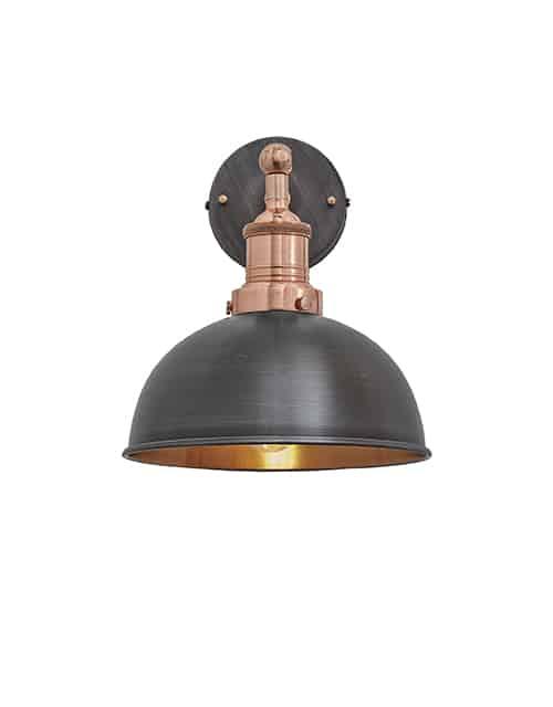 Alavo ir vario spalvos kupolo formos sieninis šviestuvas BROOKLYN su vario laikikliu