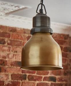Mažas kūgio formos žalvarinis lubinis pakabinamas šviestuvas CONE su grandine