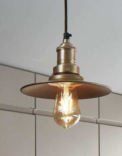Mažas plokščios formos žalvarinis šviestuvas FLAT su žalvariniu laikikliu