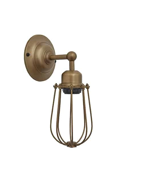 Žalvario spalvos sieninis šviestuvas ORLANDO su grotelėmis, be lemputės