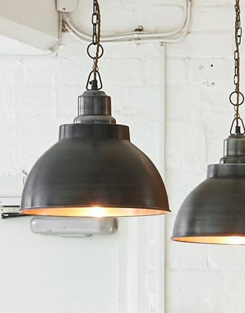Alavo ir vario spalvos gaubto formos lubinis pakabinamas šviestuvas BROOKLYN su grandine