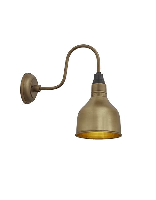Mažas žalvario spalvos kūgio formos sieninis šviestuvas SWAN NECK