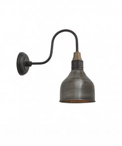 Mažas alavo spalvos kūgio formos sieninis šviestuvas SWAN NECK