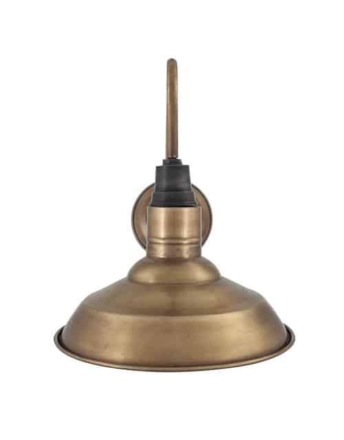 Žalvario spalvos apvalios formos sieninis šviestuvas SWAN NECK iš priekio