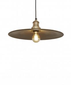 Plokščios formos žalvario spalvos lubinis pakabinamas šviestuvas FLAT su žalvario laikikliu