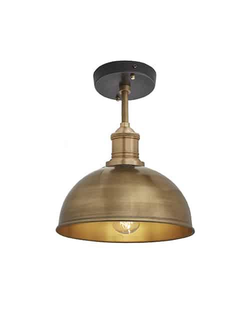 Mažas žalvario spalvos lubinis šviestuvas BROOKLYN su žalvariniu laikikliu