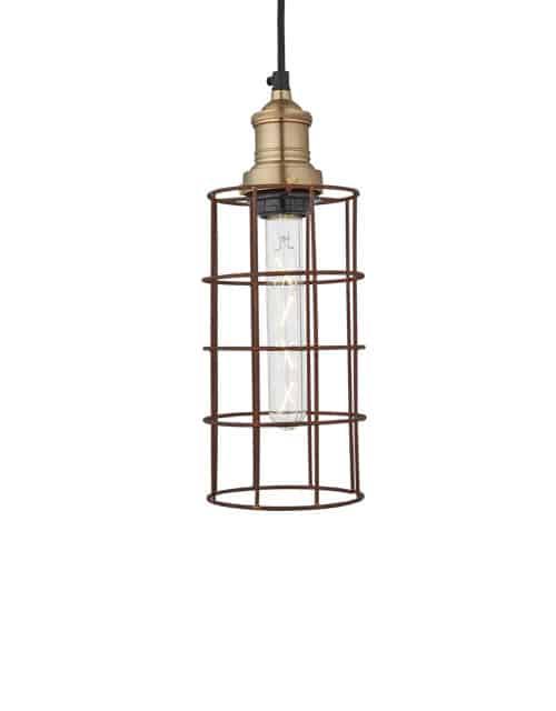 Cilindro formos pakabinamas šviestuvas RUSTY WIRE su žalvariniu laikikliu