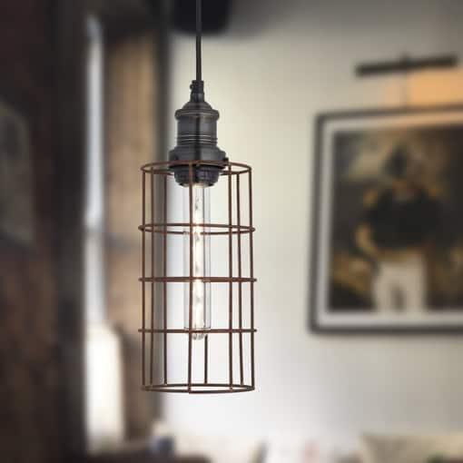 Cilindro formos pakabinamas šviestuvas RUSTY WIRE interjere