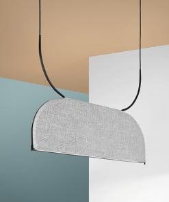 Slopinantis garsą lubinis pakabinamas LED šviestuvas BLOCK interjere