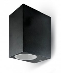 Dviejų krypčių juodas sieninis šviestuvas su GU10 lemputės lizdu