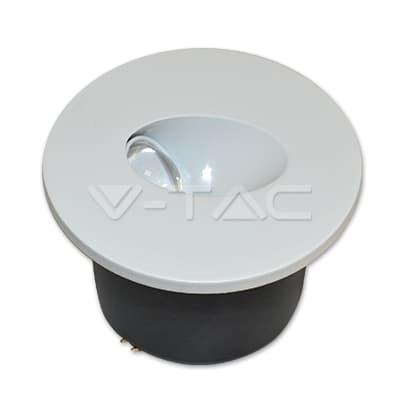 3W apvalus įmontuojamas laiptų LED šviestuvas V-TAC 4000K neutraliai balta šviesos spalva