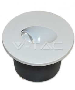 3W apvalus  įmontuojamas LED šviestuvas V-TAC laiptų apšvietimui 3000K šiltai balta šviesos spalva