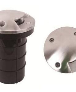 Grindinio šviestuvas GU10 nerūdijančio plieno rėmeliu, juodas, apvalus, IP67