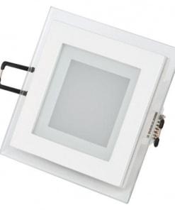 6W kvadratinė LED įmontuojama stiklinė panelė HOROZ su maitinimo šaltiniu