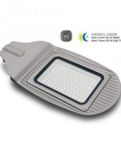 50W pilkas gatvės šviestuvas VTAC su fotosensoriumi IP65