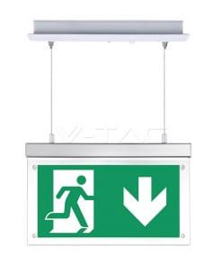 2W 16SMD LED'ų evakuacinis pakabinamas įleidžiamas šviestuvas V-TAC, IP20, 6000K(šaltai balta)