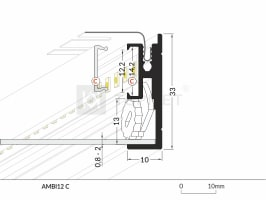 1m LED juostos profilio AMBI12, anoduotas