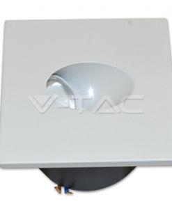 3W kvadratinis LED laiptų šviestuvas V-TAC 3000K šiltai balta šviesos spalva