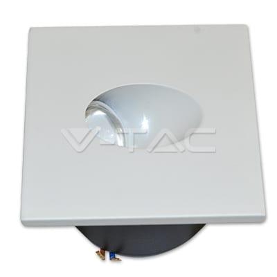 3W kvadratinis  įmontuojamas LED šviestuvas V-TAC laiptų apšvietimui 4500K dienos šviesos spalva
