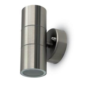 Drėgmei atsparus plieno spalvos dvikryptis reguliuojamas sieninis šviestuvas su GU10 lemputės lizdu