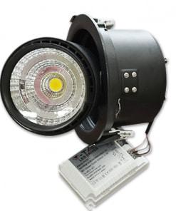 25W juodas įmontuojamas LED šviestuvas V-TAC su reguliuojama galva