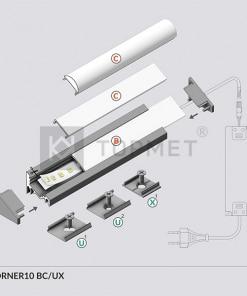 1m LED juostos profilio CORNER10 montavimas