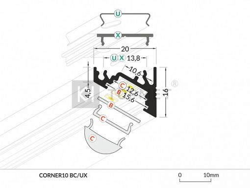 1m LED juostos profilio CORNER10 matmenys