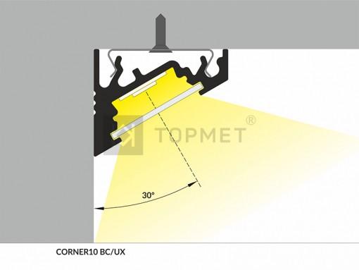1m LED juostos profilio CORNER10 60 laipsnių kampas