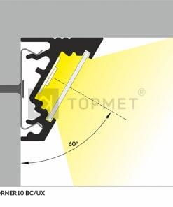 1m LED juostos profilio CORNER10 30 laipsnių kampas