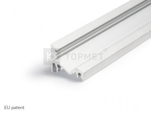 1m LED juostos profilio CORNER10, neanoduotas aliuminis