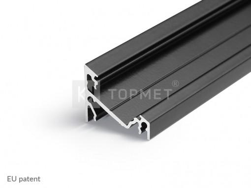 LED juostos profilis TOPMET CORNER14, juodai anoduotas 1m