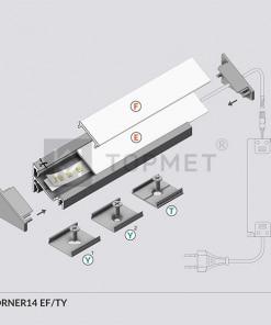 LED juostos profilis TOPMET CORNER14 montavimas