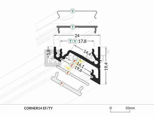 LED juostos profilis TOPMET CORNER14 dimensijos