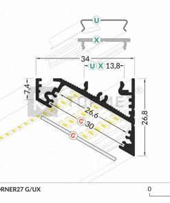 1m LED juostos profilio CORNER27 matmenys