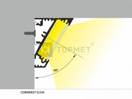 1m LED juostos profilio CORNER27, anoduotas