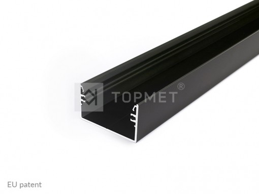 1m LED juostos profilio TOPMET LOWI, juodai anoduotas