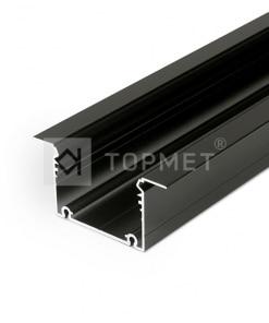 1m LED juostos profilis PHIL įleidžiamas, juodai anoduotas