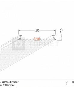 LED juostos profilio dangtelis difuzorius C10 OPAL