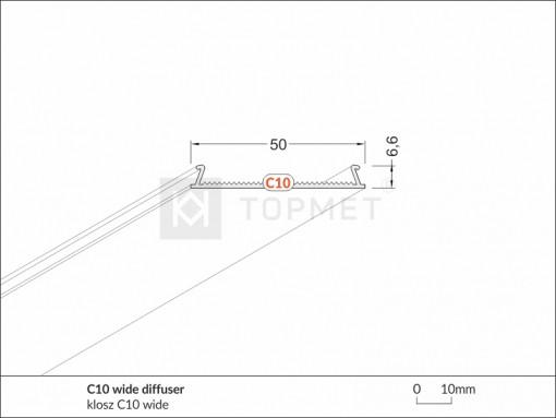 1m LED juostos profilio dangtelis difuzorius C10 WIDE
