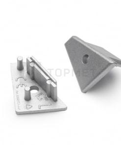LED juostos profilio CORNER10 užbaigimo elementas su skyle, sidabrinis