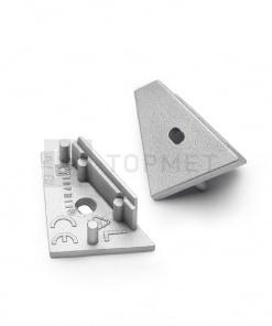 LED juostos profilio CORNER14 užbaigimo elementas su skyle, sidabrinis